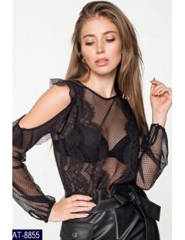 Блуза сетка с воланами, р. 42-46 черная