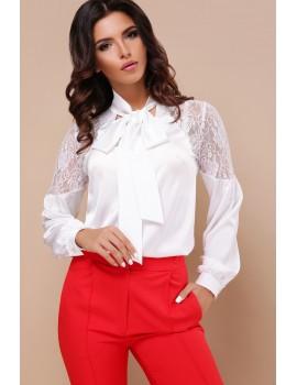Шелковая блузка с кружевом Анастейша д/р