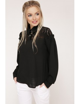 Блузка с кружевом Джустина д/р, черная