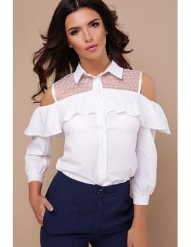 Белая блузка с открытыми плечами Эрика д/р