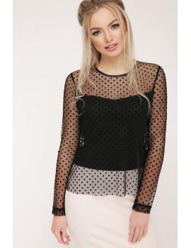 Черная блузка в горошек Амалия