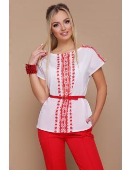 Красно-белая блузка с поясом Мира, размеры S, M, L