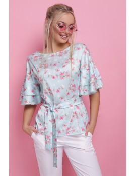 Шелковая блуза с воланами Мирабель, мята размеры S, M, L