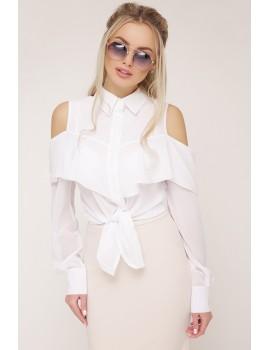 Шифоновая блузка с воланом и открытыми плечами Джанина д/р, белая