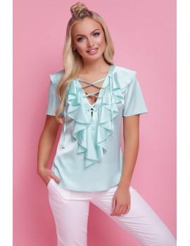 Мятная блузка с коротким рукавом Сиена