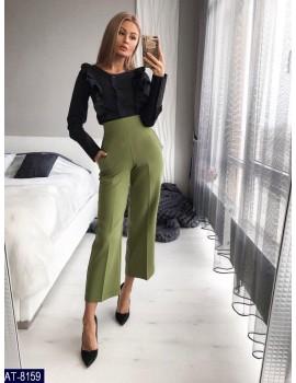 Укороченные расклешенные женские брюки р. 40-46 Хаки