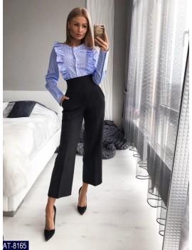 Укороченные расклешенные женские брюки р. 40-46 Черные