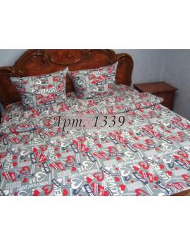 Полуторный комплект постельного белья из бязи, Love на сером фоне, Арт. 1339