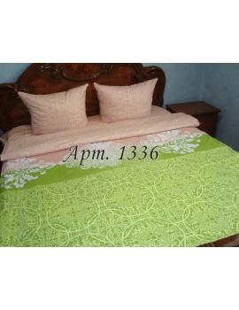 Полуторный комплект постельного белья из бязи, Беж+салат, Арт. 1336