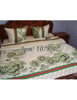 Полуторный комплект постельного белья из бязи, в стиле Гуччи, зеленые цветы Арт. 1078-4