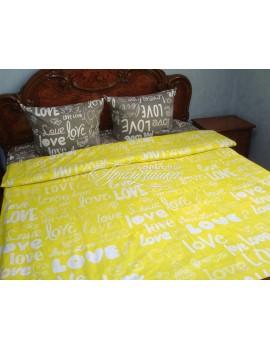 Семейный комплект постельного белья из бязи, Love дуэт серое+желтое, Арт. 1307-2