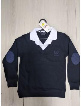 Кофта-обманка для мальчика, цвет темно-синий+белый, р. 110-158