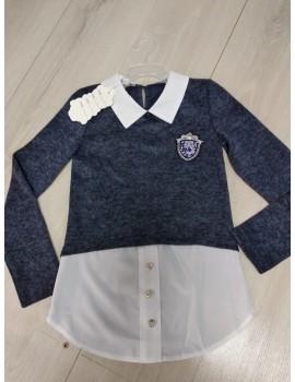 Блузка-обманка для девочки из ангоры, цвет темно-синий р. 134,