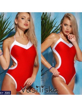 Закрытый купальник с белой окантовкой, размер С-М красный
