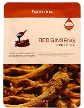 Маска тканевая с женьшенем FarmStay Visible Difference Mask Sheet Red Ginseng 1шт