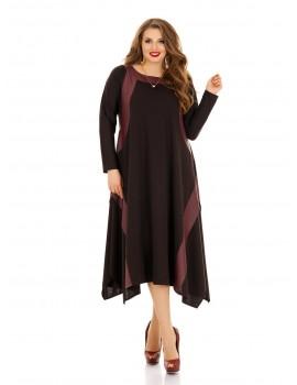 Платье ассиметричный низ, вставки из эко-кожи ДК-1142