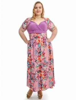 """Нарядное летнее платье большого размера 48-62 """"Декольте-Букет"""" Арт. 731"""