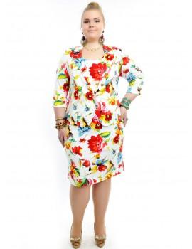 "Коттоновый костюм ""Цветастый Батал"": сарафан+пиджак 742"