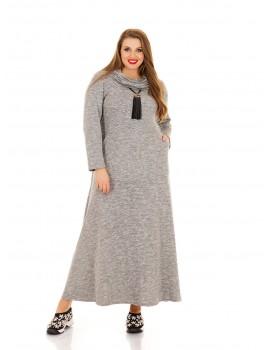 Повседневное платье с хомутоми и карманами, раклешенное от бедра ДК-1122