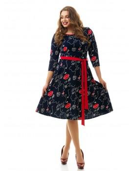 """Платье из стрейч-материала, """"Губки"""", с расклешенной юбкой ДК-847"""
