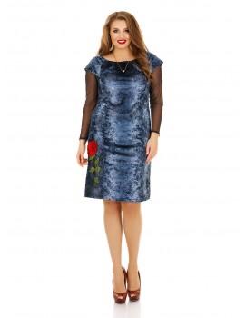 """Велюровое платье """"Под джинс"""" с рукавами сетка ДК-1128"""