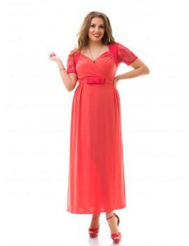 """Нарядное летнее платье большого размера 48-62 """"Декольте-Гипюр"""" Арт. 874"""
