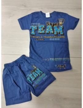 Летний костюм для мальчика TEAM синий, размер 5 лет (маломерит на размер)