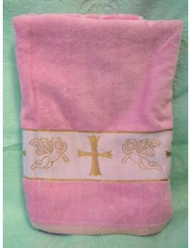 Крыжма для девочки. Полотенце для крещения розовое 906