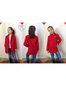 Детское кашемировое пальто, КРАСНОЕ (мм.629) р. 122-140 МД-0006