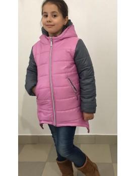 """Зимняя куртка """"Ассиметрия"""" р. 116-140, цв. серый+розовый 647"""