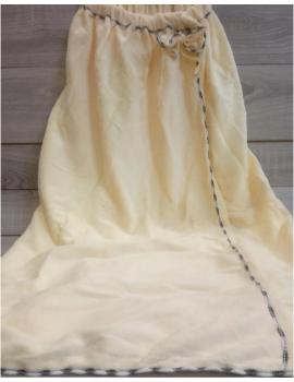 Полотенце-халат из микрофибры на резинке Бантик, цвет Пломбир Арт. 01