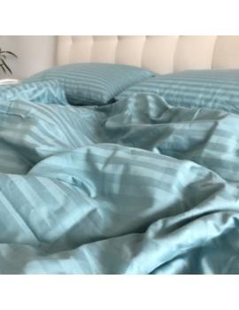 Постільна білизна з страйп-сатину, Євро розмір, колір Морская волна