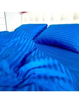 Постільна білизна з страйп-сатину, Євро розмір, колір Синій