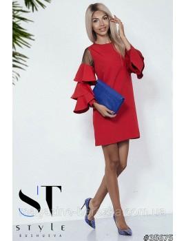 Коктейльное платье с воланами на рукавах и сеткой, Красное Арт. 35675