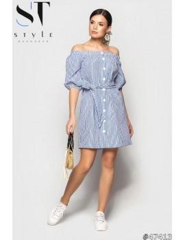Платье - рубашка в полоску с рукавом 3/4открытыми плечами, Синее, Арт. 47413