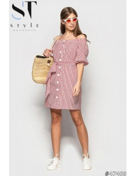 Платье - рубашка в полоску с рукавом 3/4открытыми плечами, Красное, Арт. 47409