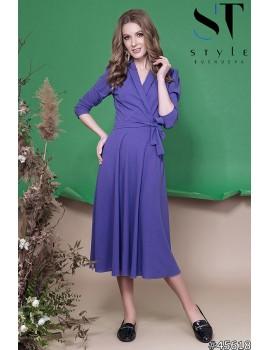 Приталенное платье миди на запах из креп-дайвинга, Сирень Арт. 45618