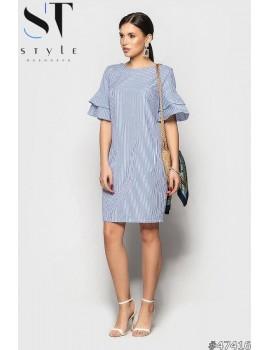 Коттоновое платье в полоску с воланами, Синее Арт. 47416