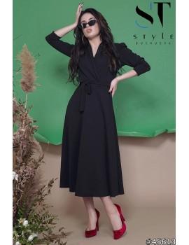 Приталенное платье миди на запах из креп-дайвинга, Черное Арт. 45613