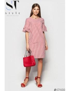 Коттоновое платье в полоску с воланами, Красное Арт. 47408