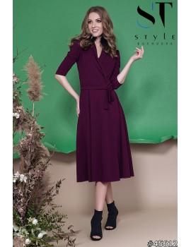 Приталенное платье миди на запах из креп-дайвинга, Марсала Арт 45612