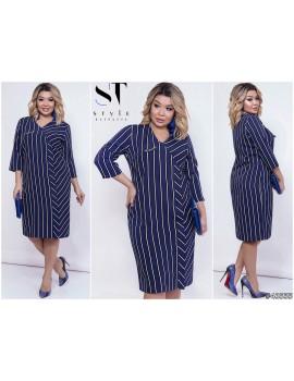 Платье из костюмной ткани в полоску р.50-54 Арт. 43555 синее