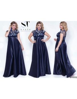 """Атласное вечернее платье в пол с гипюрным верхом """"Таис Батал"""" Арт. 44532 Индиго"""