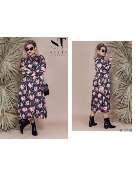 ab8764a4b2cb348 Купить. Платье-рубашка Миди с цветочным принтом Батал р. 48-54 Арт. 45502