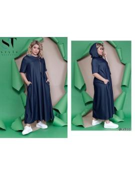 Платье оверсайз из облегченного джинса Супер Батал Р. 52-62 Арт. 45317