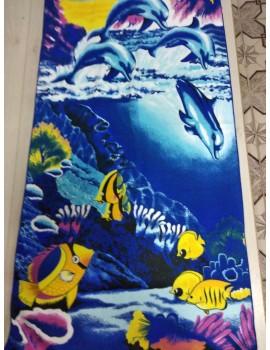 Пляжные полотенца из микрофибры Подводный мир Ярко-синие, размер 140*70 см