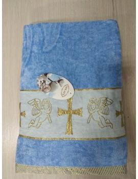 Крыжма для мальчика Велюровая. Полотенце для крещения голубое