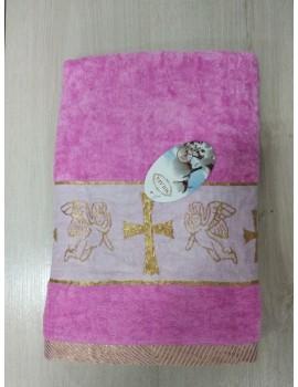Крыжма для девочки Велюровая. Полотенце для крещения розовое