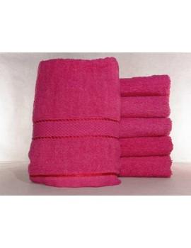 Полотенце однотонное для гостиниц, Малиновое, размер 50*90 см (в упаковке 6 шт), Арт. 246
