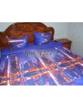 Евро-комплект постельного белья из ранфорса, рисунок 3Д, 100% хлопок, Ночной город Арт. 1277-2